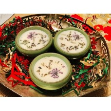 Aromatic Soy Candle with Beautiful Flower Inserts - Ceramic Pots (Set of 3)