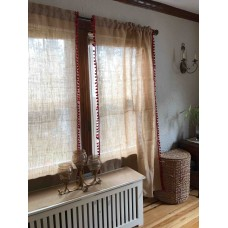 Red Trimmed Burlap Curtains