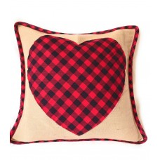 Buffalo Plaid Heart Handcrafted Rustic Throw Pillow Covers for Sofa Couch Bedroom Outdoor Patio Spring Home Decor | Mothers Day | Country, Farmhouse, Rustic, Easter (Buffalo Plaid Heart, 15 x 15)