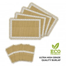 Set of 4 Rustic Natural Jute/Burlap Table Placemats with Matching Cutlery Holders | Lace Design, Fringes | Thanksgiving, Holidays, Fall, Easter, BBQ, Farmhouse Kitchen Decor (Off White)